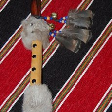 NATIVE AMERICAN CRANES HEAD DANCE STICK OR WALL HANGING