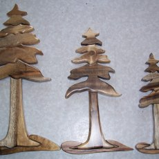 Set of 3 Oregon Myrtlewood Intarsia Trees