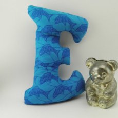Letter E kids beanbag, blue fish, one of a kind for play or display