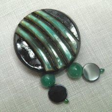 Vintage button brooch Art Deco style black green with beads