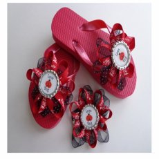 Girls Embellished Flip Flops with Matching Hair Bow