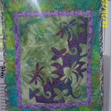 Quilted dragonfly wall hanging -green and purples-