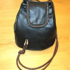 Black Leather Drawstring Tote with Black & Brown Braid Shoulder Bag