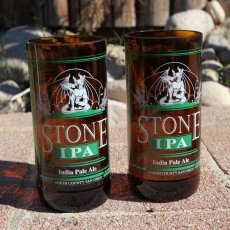 Stone Brewing IPA Pint Glasses made from upcycled bottles