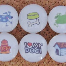 A Dog's Life Handmade Decorative Glass Refrigerator Magnets or Push Pins Set of 6