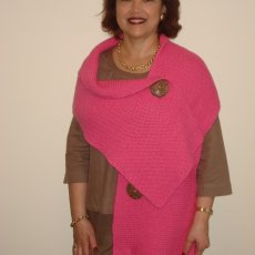 Hand knitted Egyptian Cotton 3 button shawl