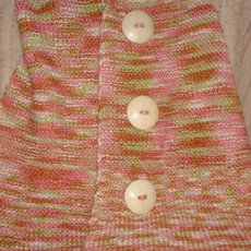 Hand knitted organic cotton 3 button shawl