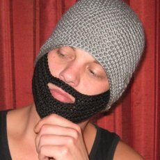 Crochet Beanie with Attached Beard Made to Order All Sizes & Colors