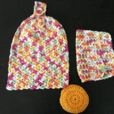 Handmade Crocheted Kitchen Towel Set with Crocheted Nylon Scrubbie