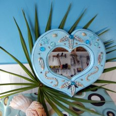 Coastal Aqua Blue Wooden Heart Shaped MIrror with Beachy Flair