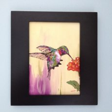 Acrylic Hummingbird painting on Watercolor background