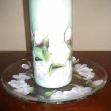 Hand Painted glass plate and hand painted candle