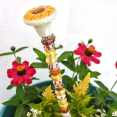 Beaded Sunflower Garden Plant Stake in Yellow and Brown by Dazzle Designs