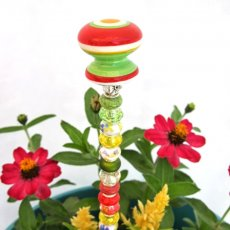 Beaded Garden Plant Stake in Green, Red and Yellow