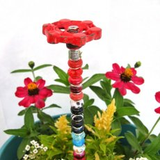 Beaded Vintage Faucet Garden Plant Stake in Red, Black and Blue