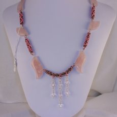 Rose Quartz with Pink and Silver Byzantine Necklace