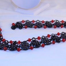 Black, Red and Gunmetal ChainMaille Necklace