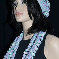 Multicolor Crochet Ladder Beanie and Infinity Scarf
