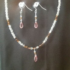 Swarovski pink crystal necklace and earring set