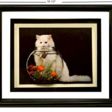 3D FRAMED CAT AND FISHBOWL 3D1ART