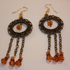 Dangle Earrings with Crystals.