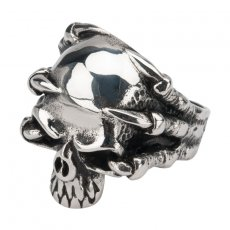 316L Stainless Steel Skull Embraced by Dragon Claws Ring